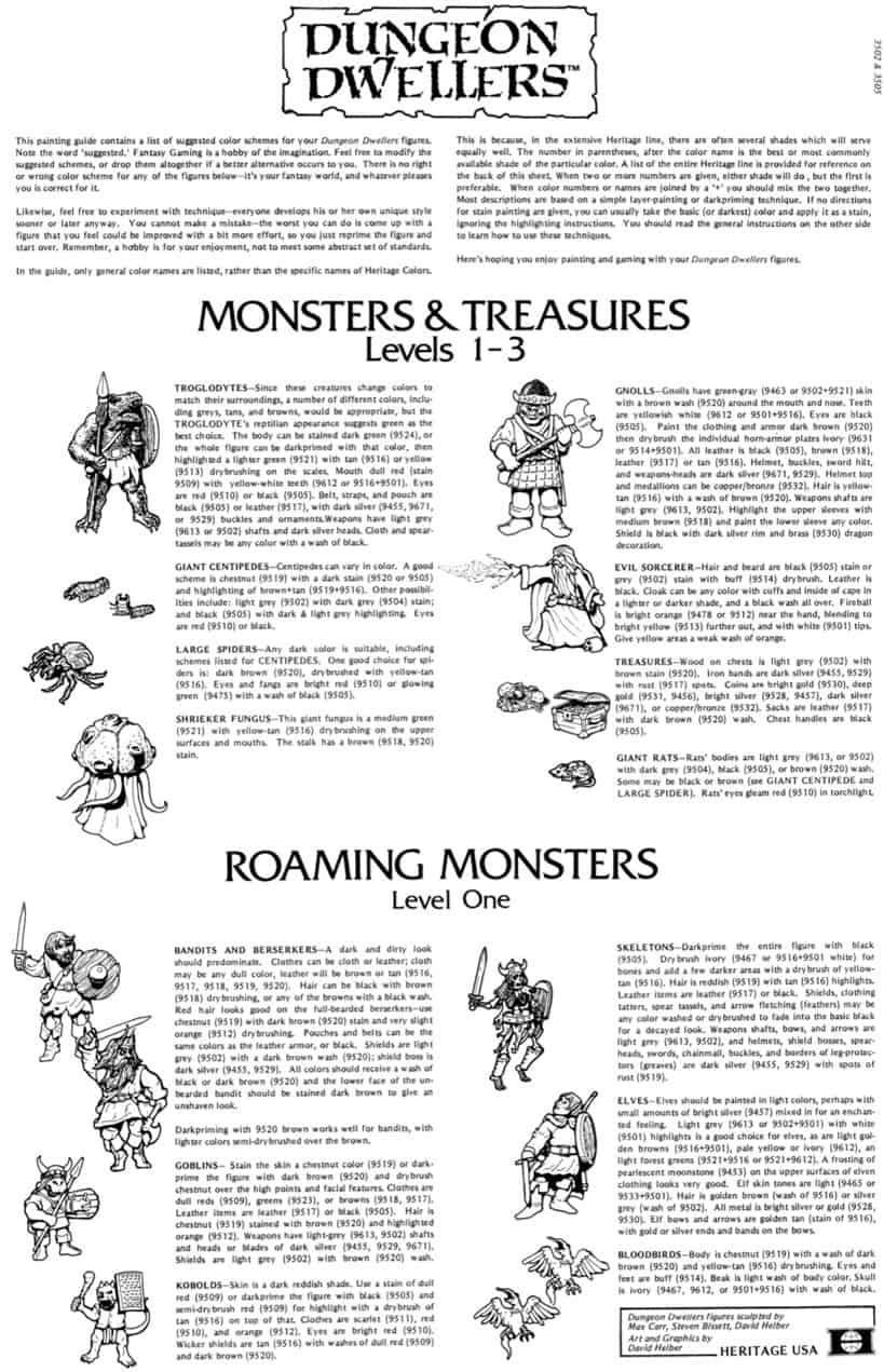 3505 Monsters & Treasures Levels 1-3 – Heritage USA Dungeon Dwellers